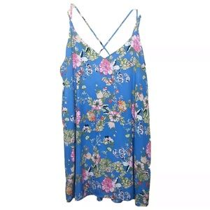 Xhilaration Floral Print Cross Back Swing Dress